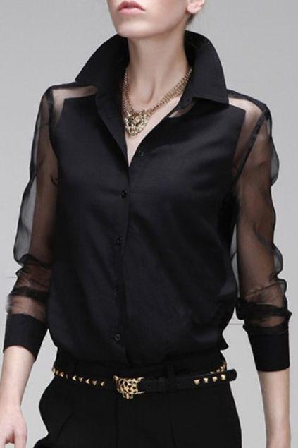 39d1f19c4aa Mesh Panel Asymmetric Transparent Black Shirt