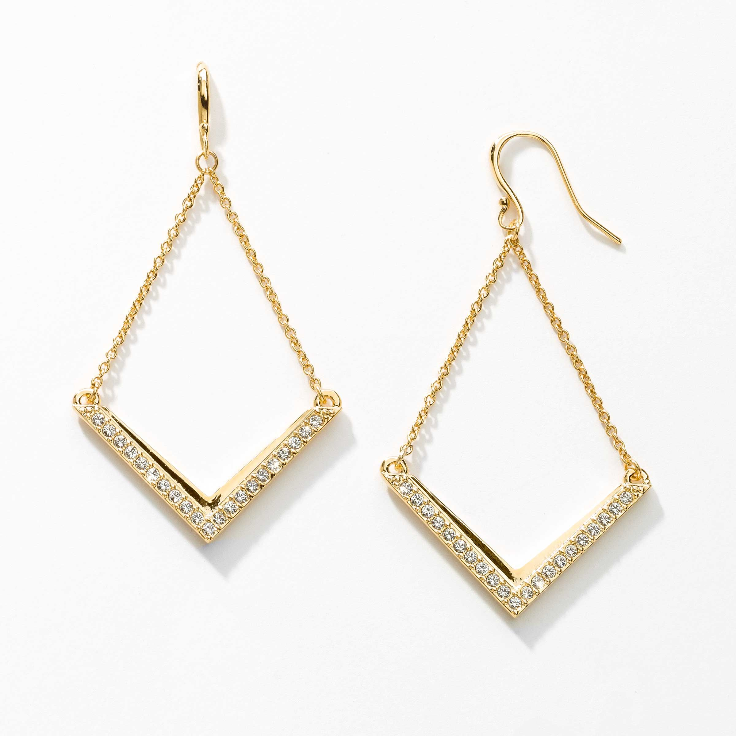 "V Earrings, Gold - Crystal; gold plating.  Ear wires; 2 1/4"" length. $49"