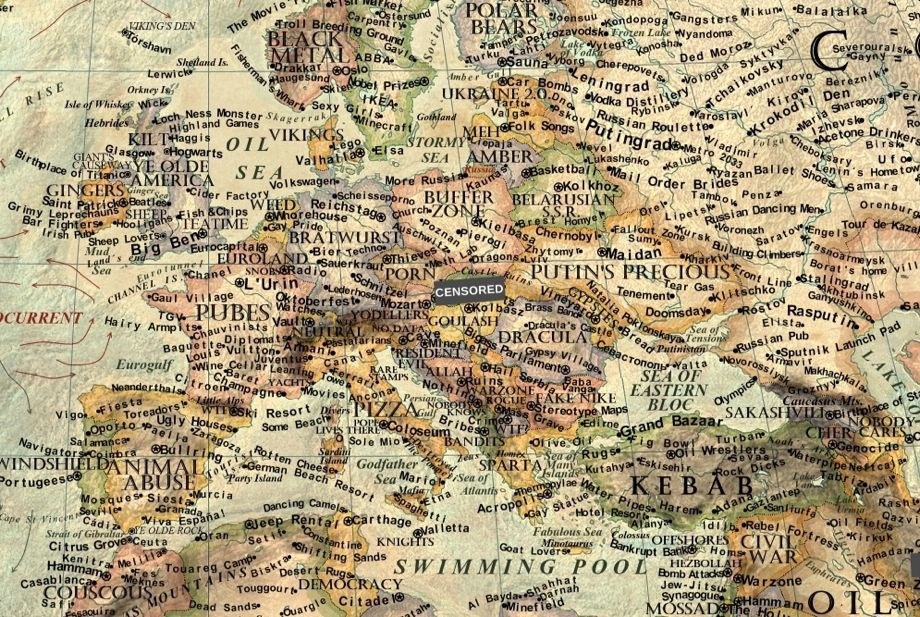 A Satirical Map of the World\'s Stereotypes That Makes No Attempt at ...