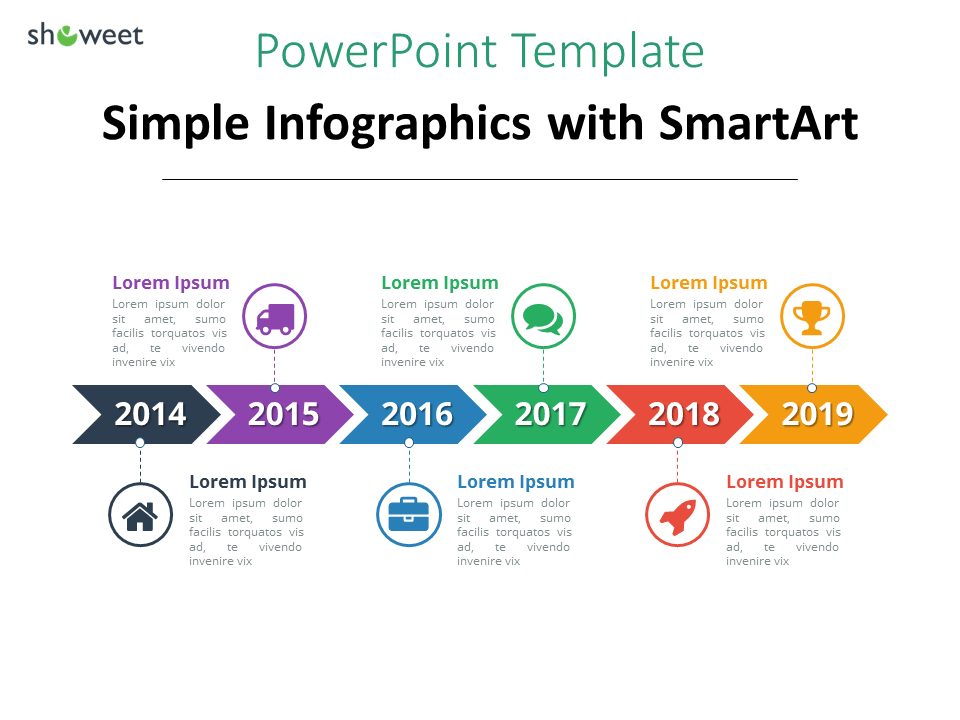 example of simple timeline template using smartart