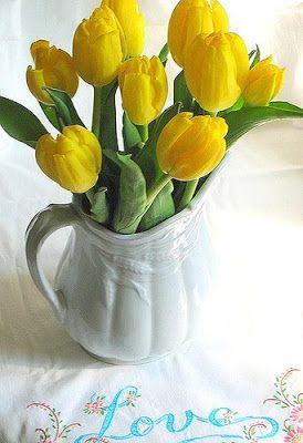 I love white pitchers, and I love tulips.  Perfect! - Sherri's Jubilee