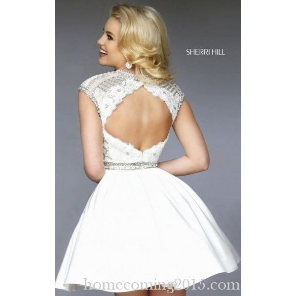 2015 Beads Homecoming Dress White Sherri Hill 32317 via Polyvore