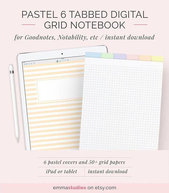 Digital 6 tab grid student notebook template digital square graph digital 6 tab grid student notebook template digital lined grid customisable notebook ipad college maxwellsz