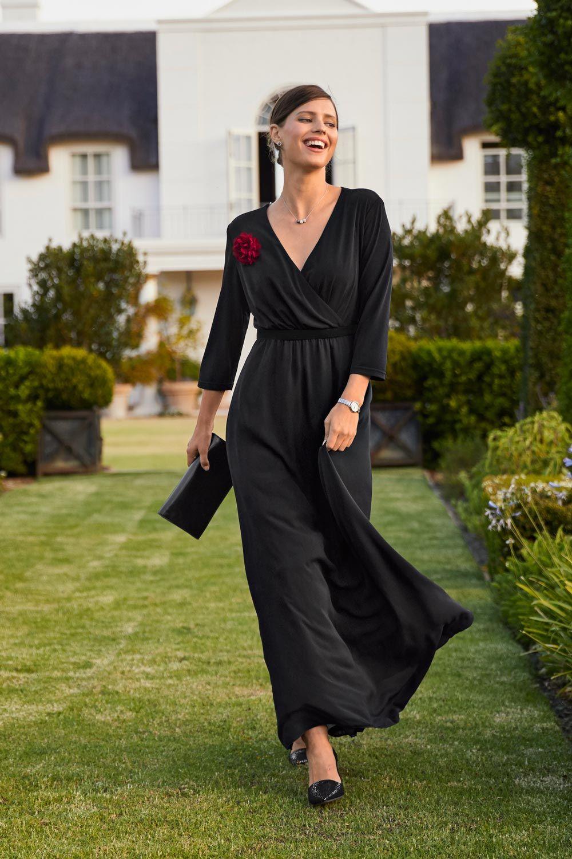 Abendkleid Gold Collection in schwarz mit Ansteckblume ...