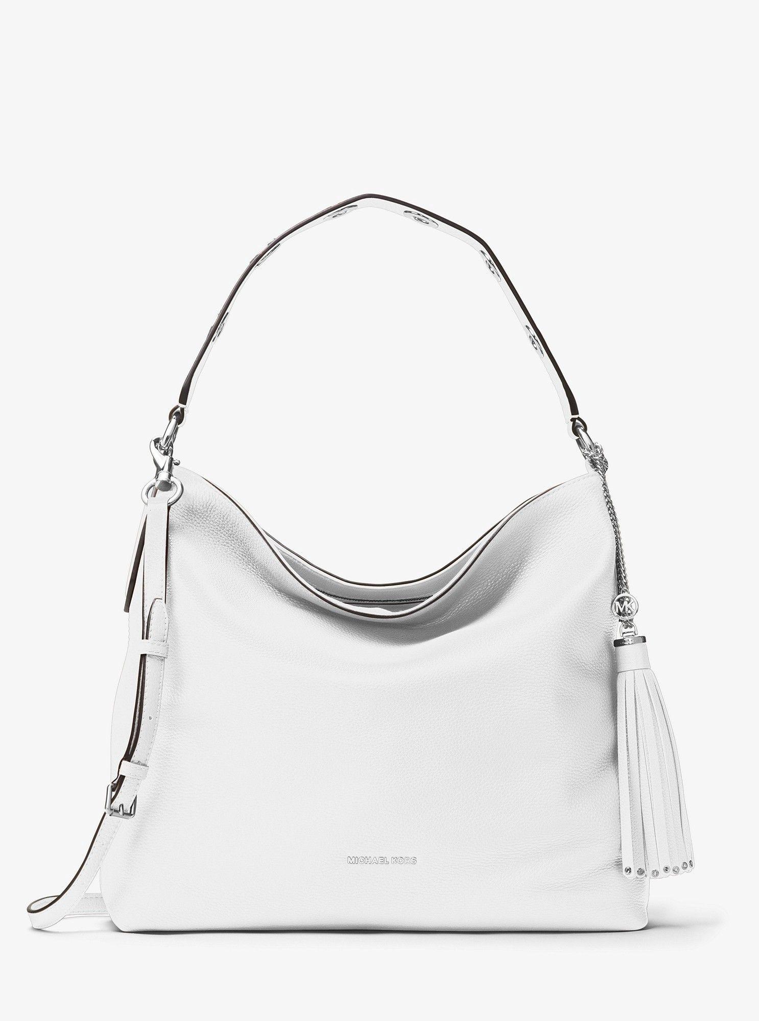 e3826cdc042d Michael Kors Brooklyn Large Leather Shoulder Bag - Pearl Grey ...