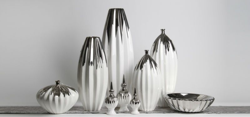 Modern Ceramic Silver Gilt White Vase / Eiffel Tower Home Decor .