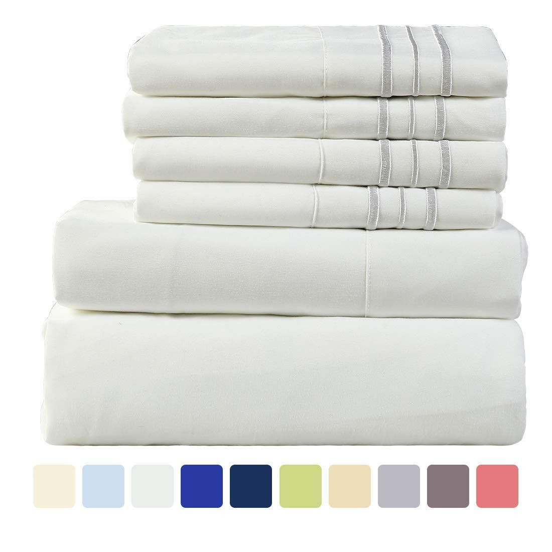 Warm Harbor Microfiber Sheet Set Super Soft 1800 Thread Count Deep Pocket Bed Sheets Wrinkle Fade Stain Resistant 6 Pi Sheet Sets Stain Resistant Bed Sheets