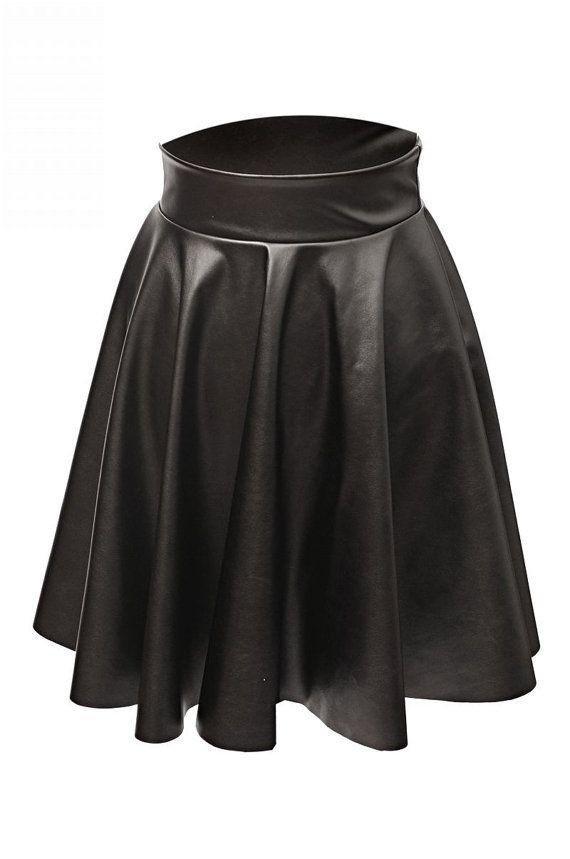 circle ecological leather skirt,Circle skirt, black circle skirt, black skirt, beautiful skirt, ecological leather skirt. on Etsy, $53.07