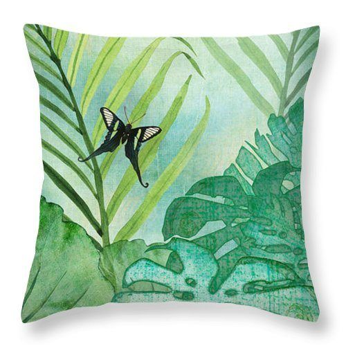 Rainforest Tropical Philodendron Elephant Ear And Palm Leaves With Botanical Butterfly CLH18100716P Handmade Pillowcase #elephantearsandtropicals