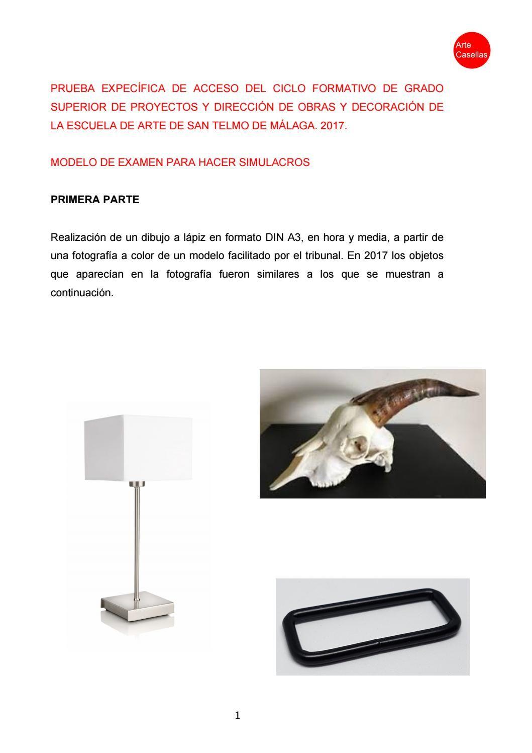 Modelo Prueba Específica 2017 Grado Superior Interiores Málaga Clases Preparación Online Modelo De Examen Preparación Azulejos De Metro