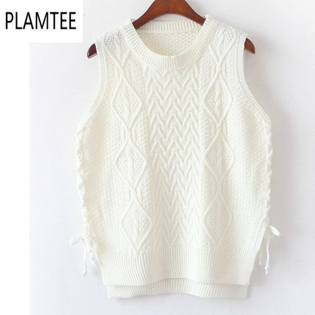 Vintage Sleeveless Female Knitted Vest Female Sweater Match-all Casual Round Neck Loose Women Jumper Rhombus Side Strip Pullover