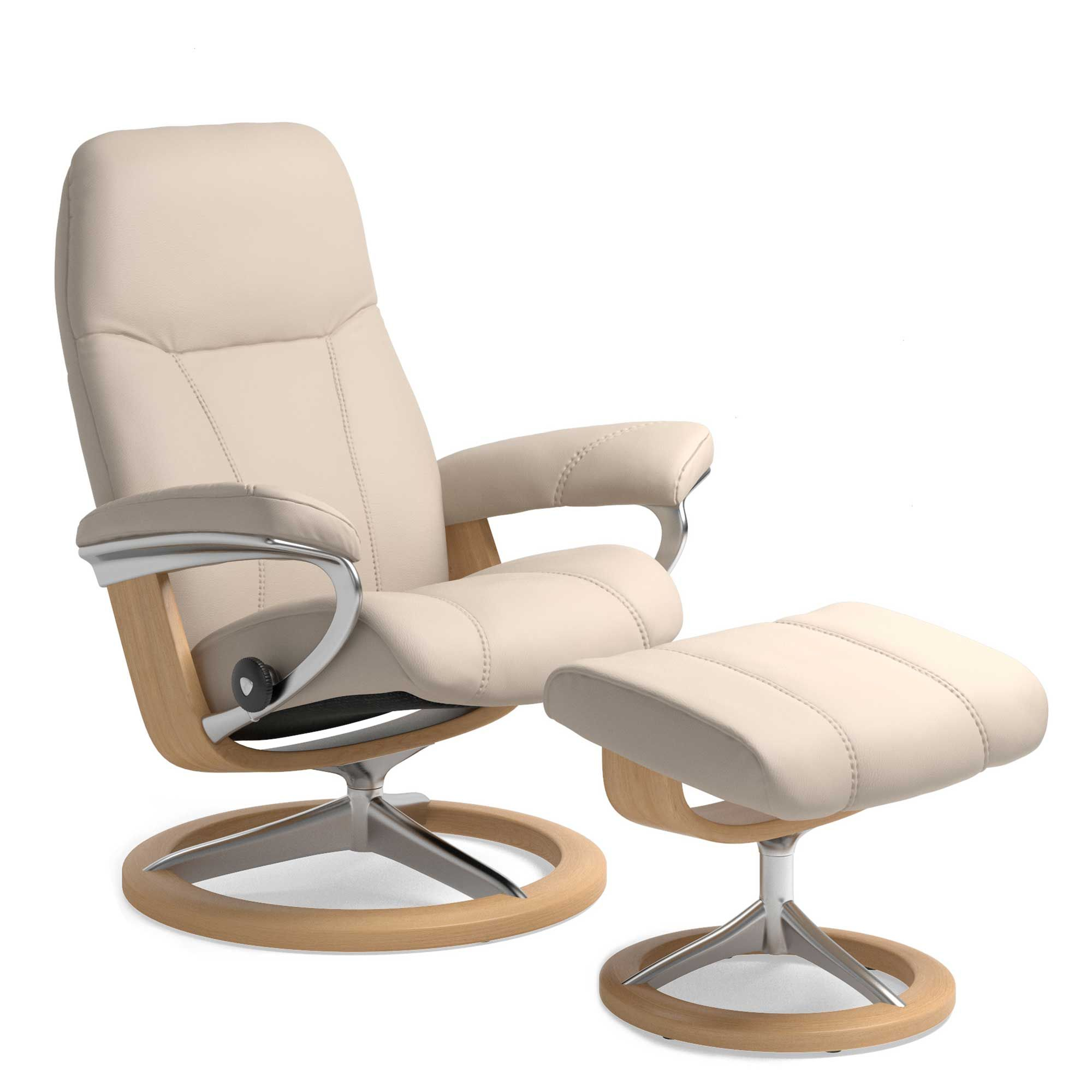Stressless consul small chair and stool in batick leather - Stressless Consul Chair And Stool Batick Cream And Oak Signature Base Recliners Living