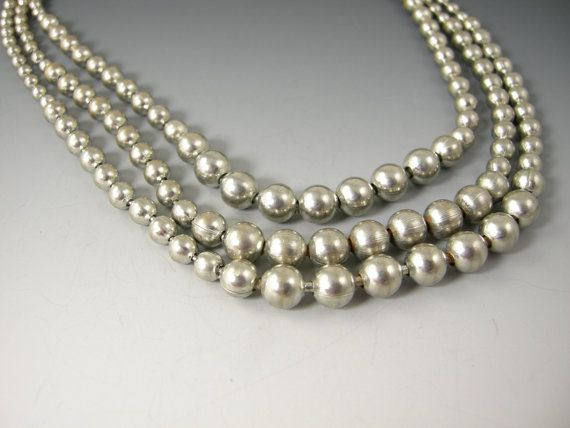 Vintage Necklace Triple Strand Silver Colored by worn2perfection, $55.00