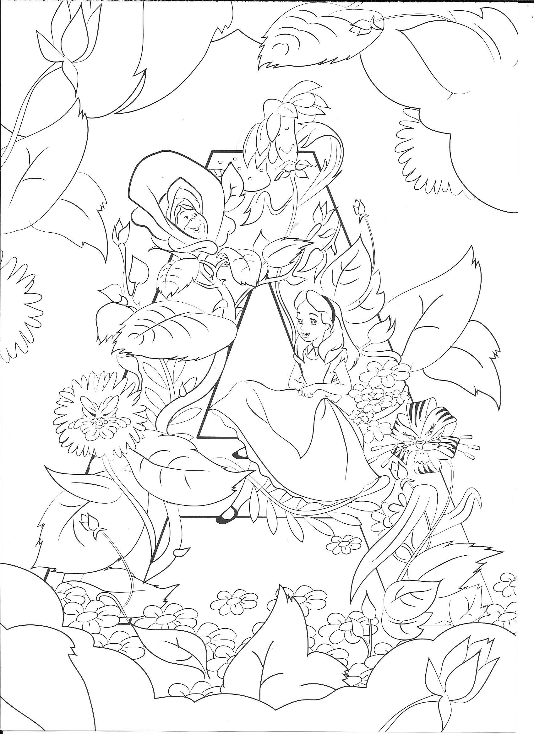 A for Alice Coloring Disney letters, Coloring pages to