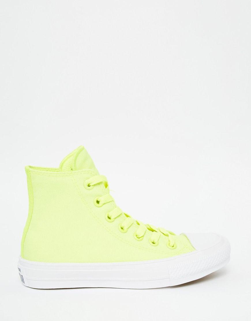 f393f7692dabb5 Converse+Chuck+Taylor+II+Neon+Yellow+Hi+Top+Trainers