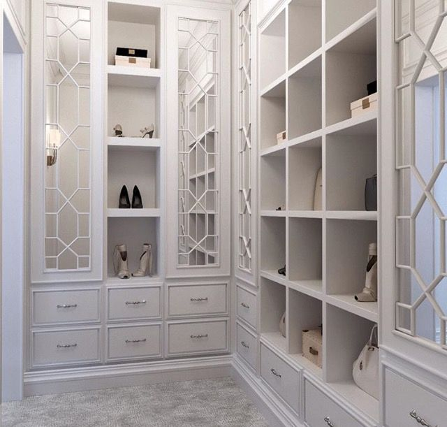 Closet Space   Mirrored Cabinet Doors With Fretwork.