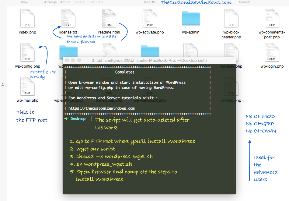 Bash Script To Wget Wordpress Ready To Run The Installer Customized Windows Technology Articles Script