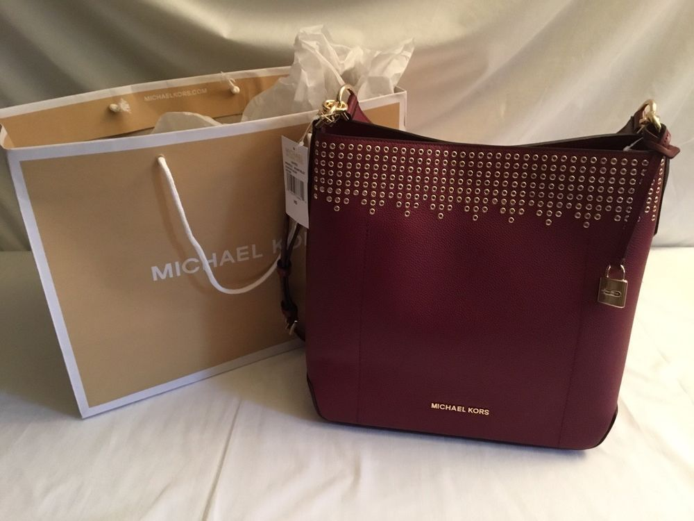 f13fa8bce03765 NWT MICHAEL KORS HAYES Large Bucket Shoulder BAG In MULBERRY RETAIL: $448. # MichaelKors #ShoulderBag