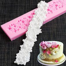 3D Pearl Beads Silicone Mould Lace Cake DecorBorder Fondant Baking Icing tool SZ