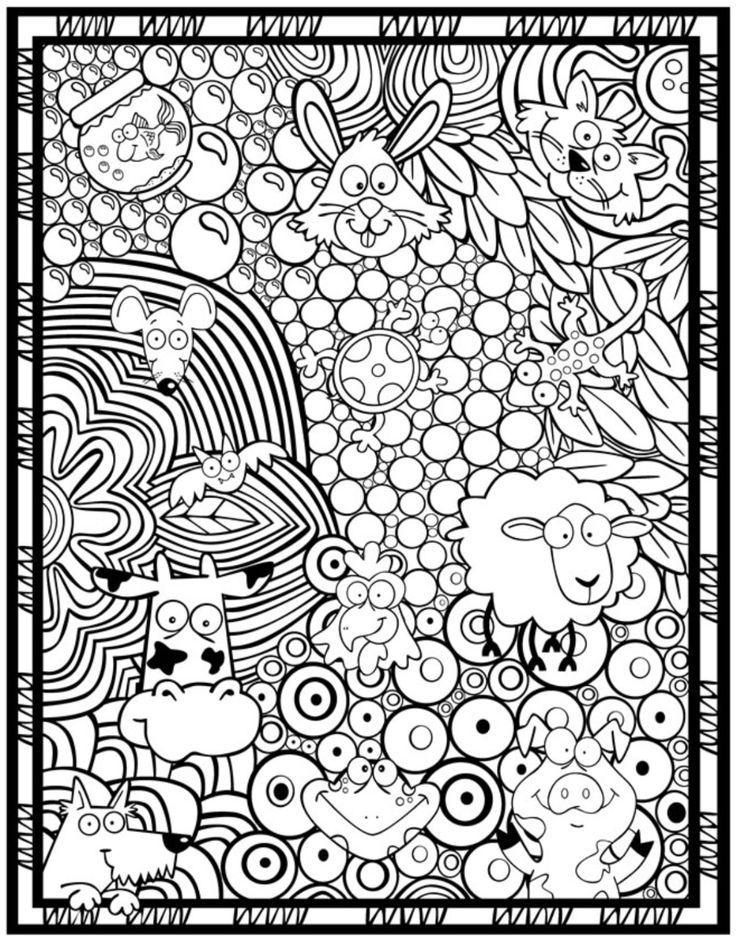 leuke kleurplaat met allemaal verschillende beestjes