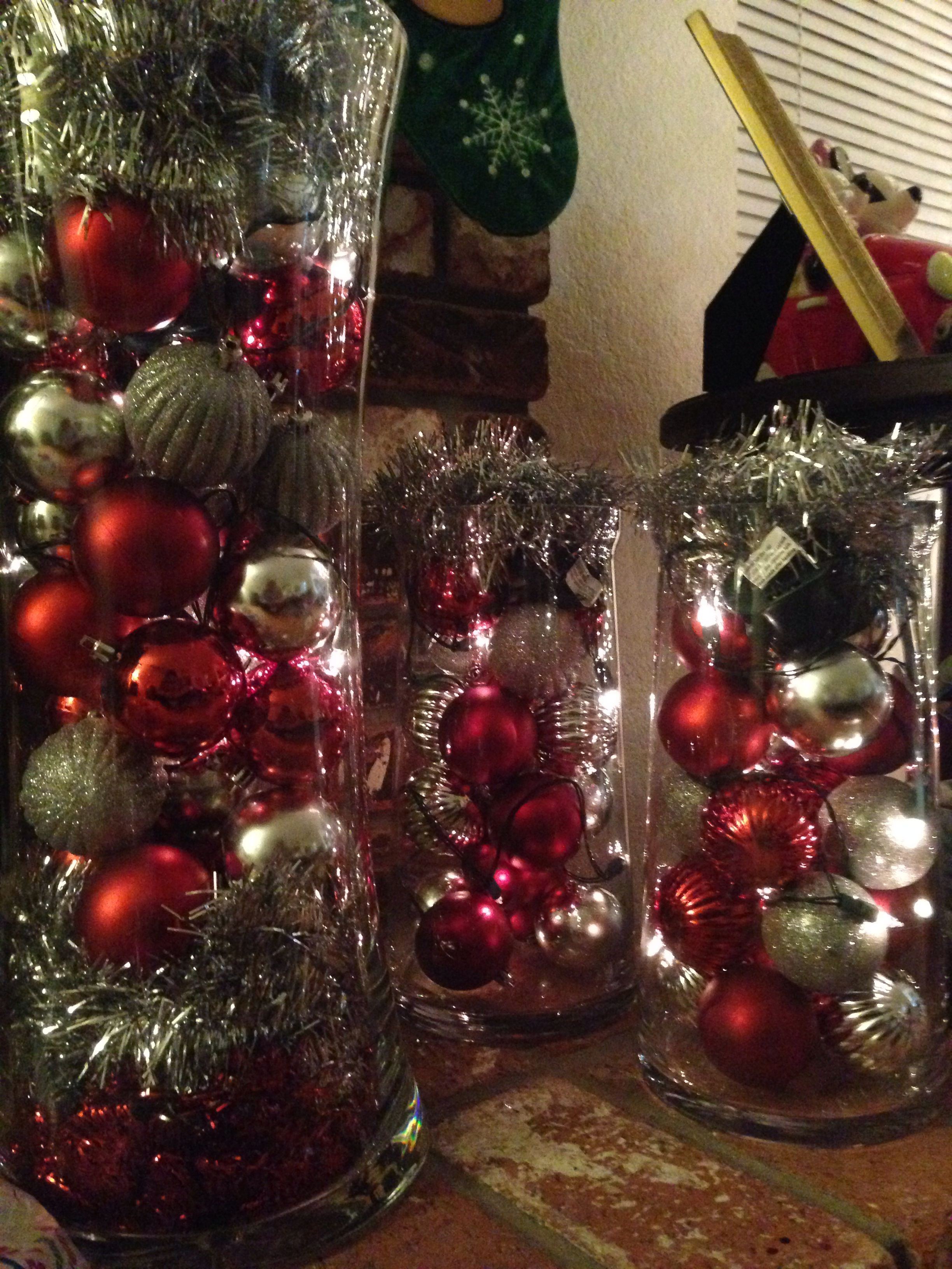 My Home Christmas Decor Glass Vases Ornaments From The Dollar Store And Battery Operated Lights Christmas Decorations Christmas Holiday Decor
