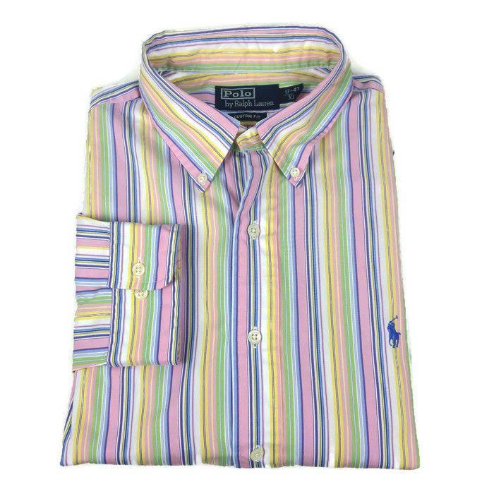 Men s Ralph Lauren Polo Striped Oxford Shirt Size 17 43 XL 25 ...