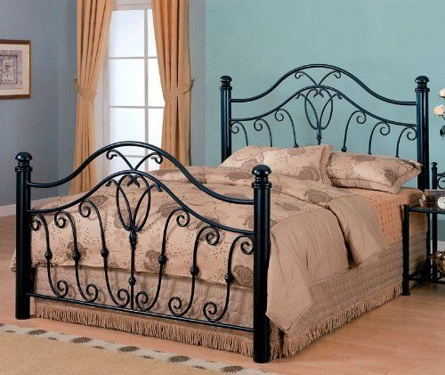Queen Size Metal Bed Headboard And Footboard In Black Finish By Coaster Home Furnishings