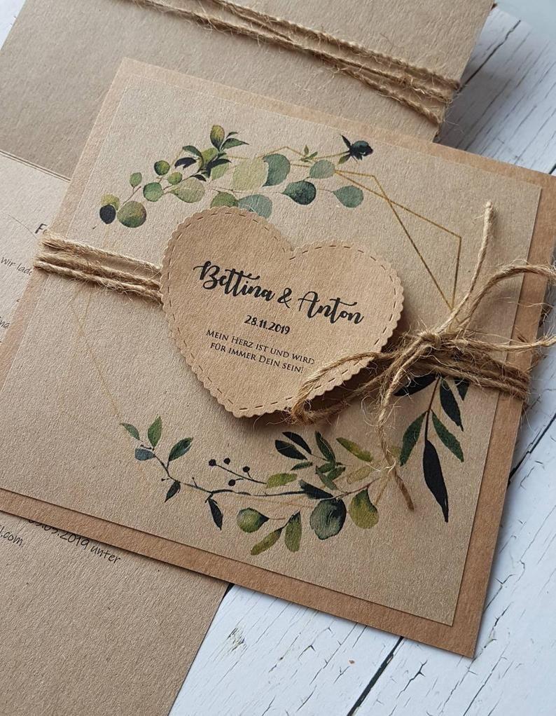 10x Hochzeiteinladungen Grune Pflanzen Kranz Kraftpapier Etsy In