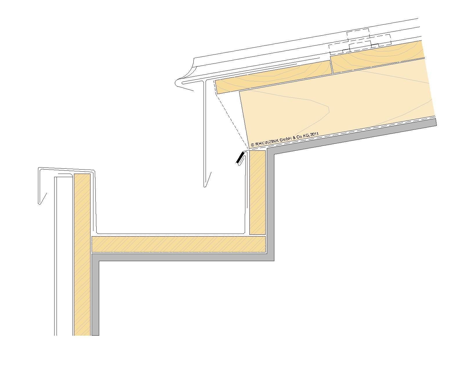 Entwasserung Dach Geneigt Halb Verdeckt Regenrinne Baukonstruktionen Dachrinne