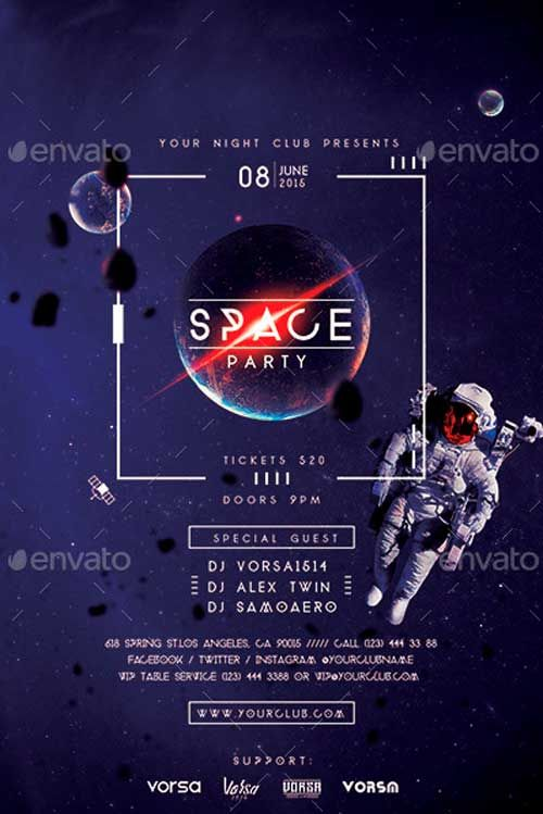 Space Party Flyer Template -   ffflyer/space-party-flyer
