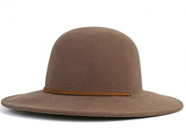 Wide brim round top felt hat with leather strap.  b8cafd468b6