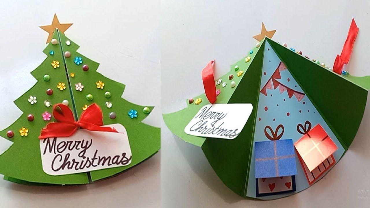 How To Make Christmas Card Handmade Easy Card Tutorial Youtube Christmas Cards Handmade Easy Christmas Cards Kids Easy Christmas Drawings