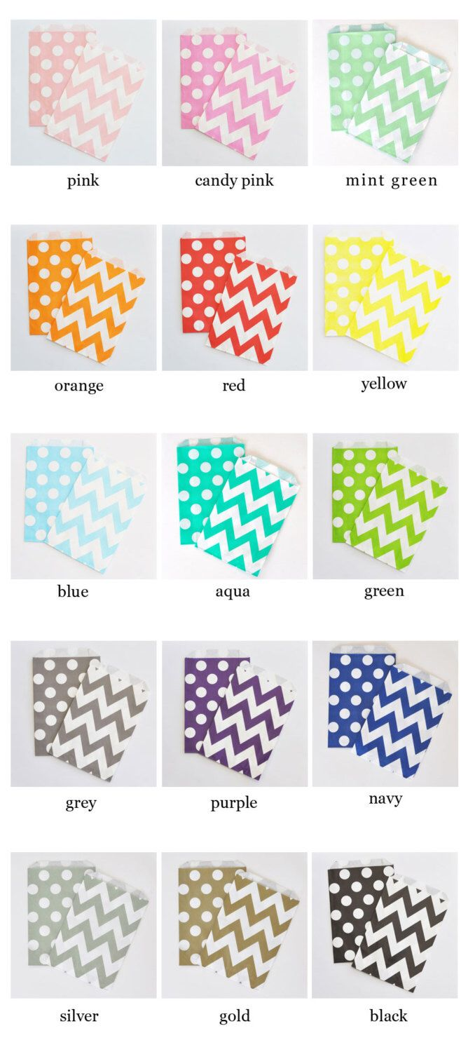 Chevron Polka Dot Goodie Bags Candy Bar Bag Wedding Favors Party ...