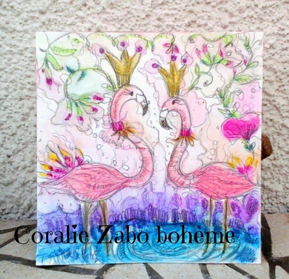 Flamants Roses Carte Carte Aquarelle Peinture Peinte A La Main