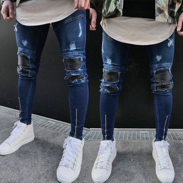 7d949d025401 Wish | Mens Ripped Slimfit Skinny Jeans Stretch Denim Distress Frayed Biker Jeans  Boys