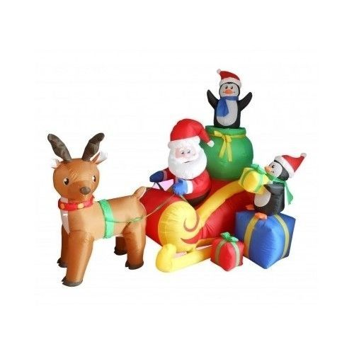 Christmas Inflatable Santa Sleigh With Reindeer  Penguins Yard 6