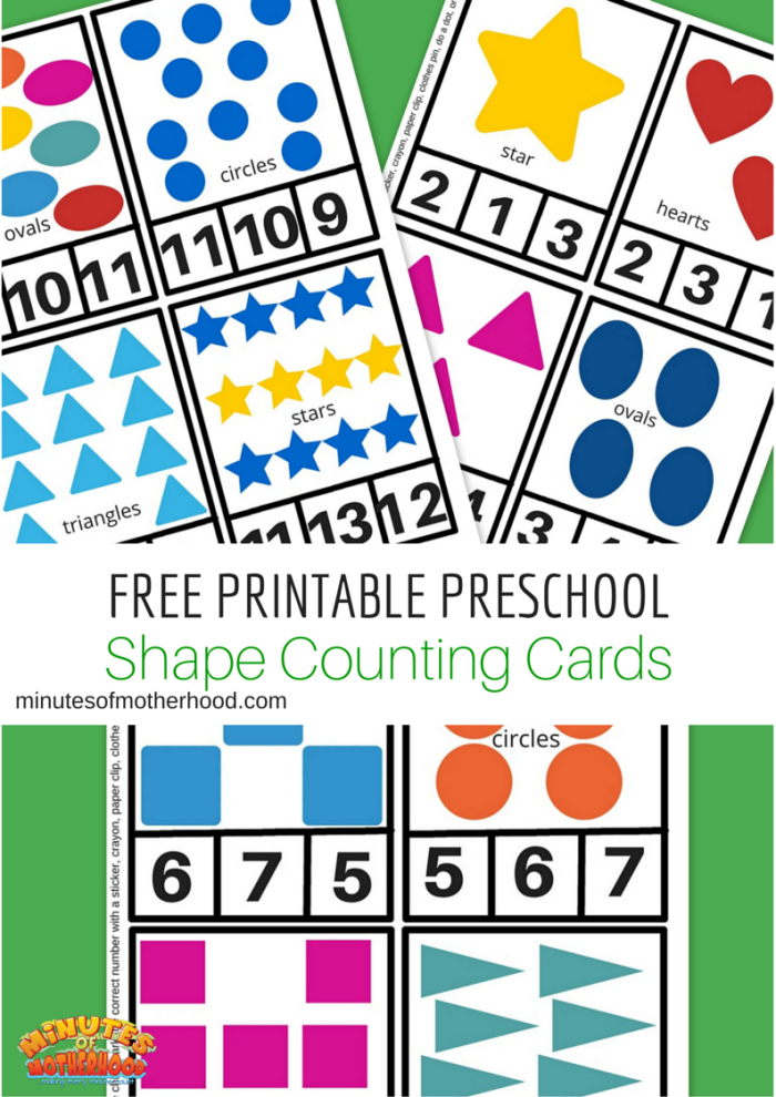Free Printable Preschool Shape Clip Counting Cards