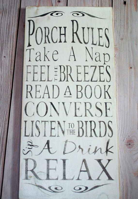 Porch rules - Porch sign - Porch Rules sign - Wood sign - Porch ...