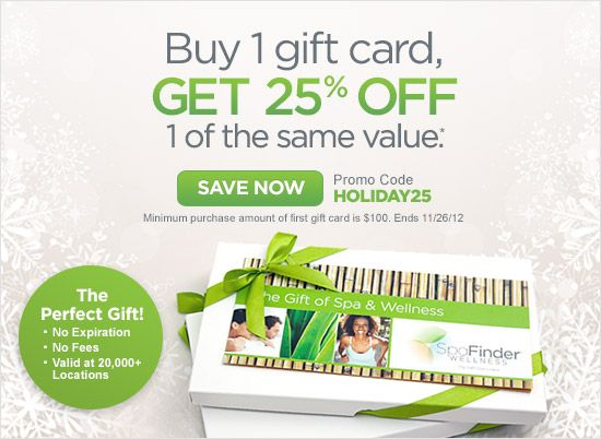 Buy One Gift Card of $100 or More, Get the 2nd of Equal Value 25% Off! Use code: HOLIDAY25