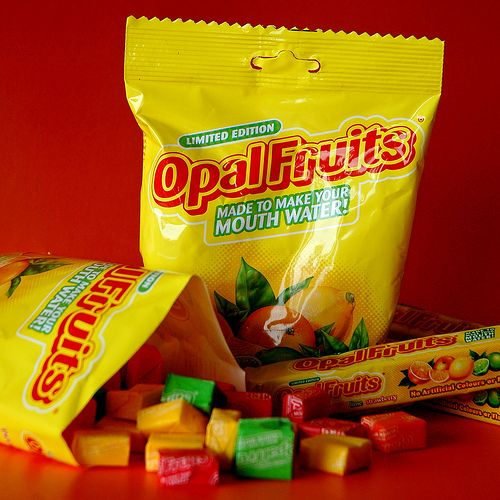 Opal Fruits (NOT Starburst). 'Made to make your mouth water' :)