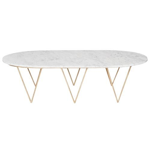 Elaine Hollywood Regency Gold White Marble Coffee Table White - Oval shaped marble coffee table