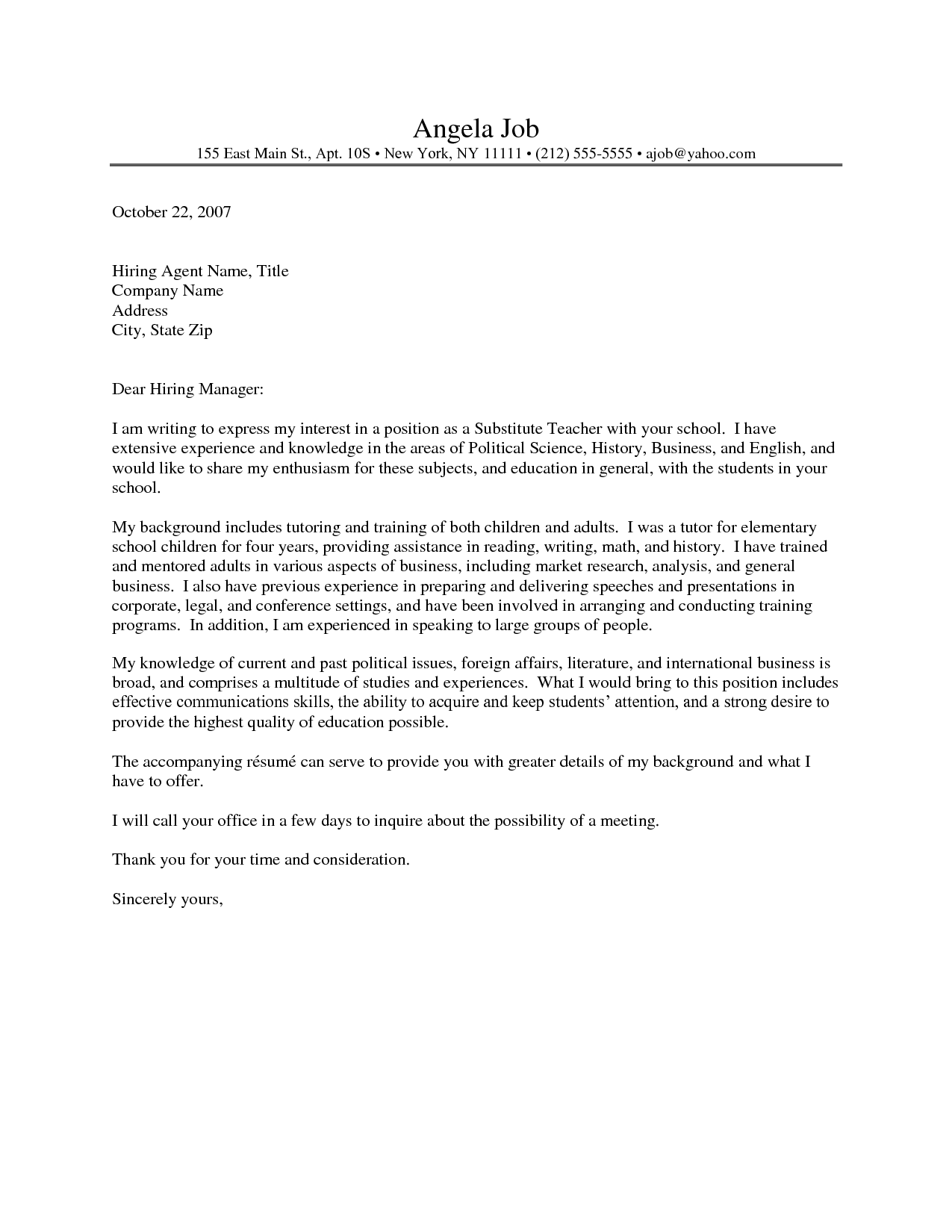 School Teacher Cover Letter Letters Sample Application Example
