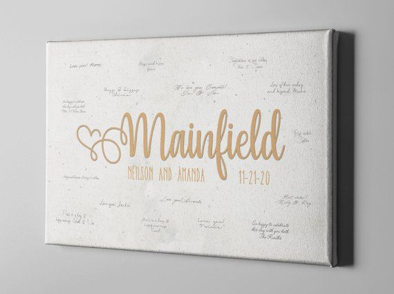 Wedding Canvas Guest Book Last Name Guest Book Initial Script Guestbook Ideas Bridal Shower Gift For Bride To Be Cgb326 Bridal Shower Gifts For Bride Wedding Canvas Bridal Shower Gifts