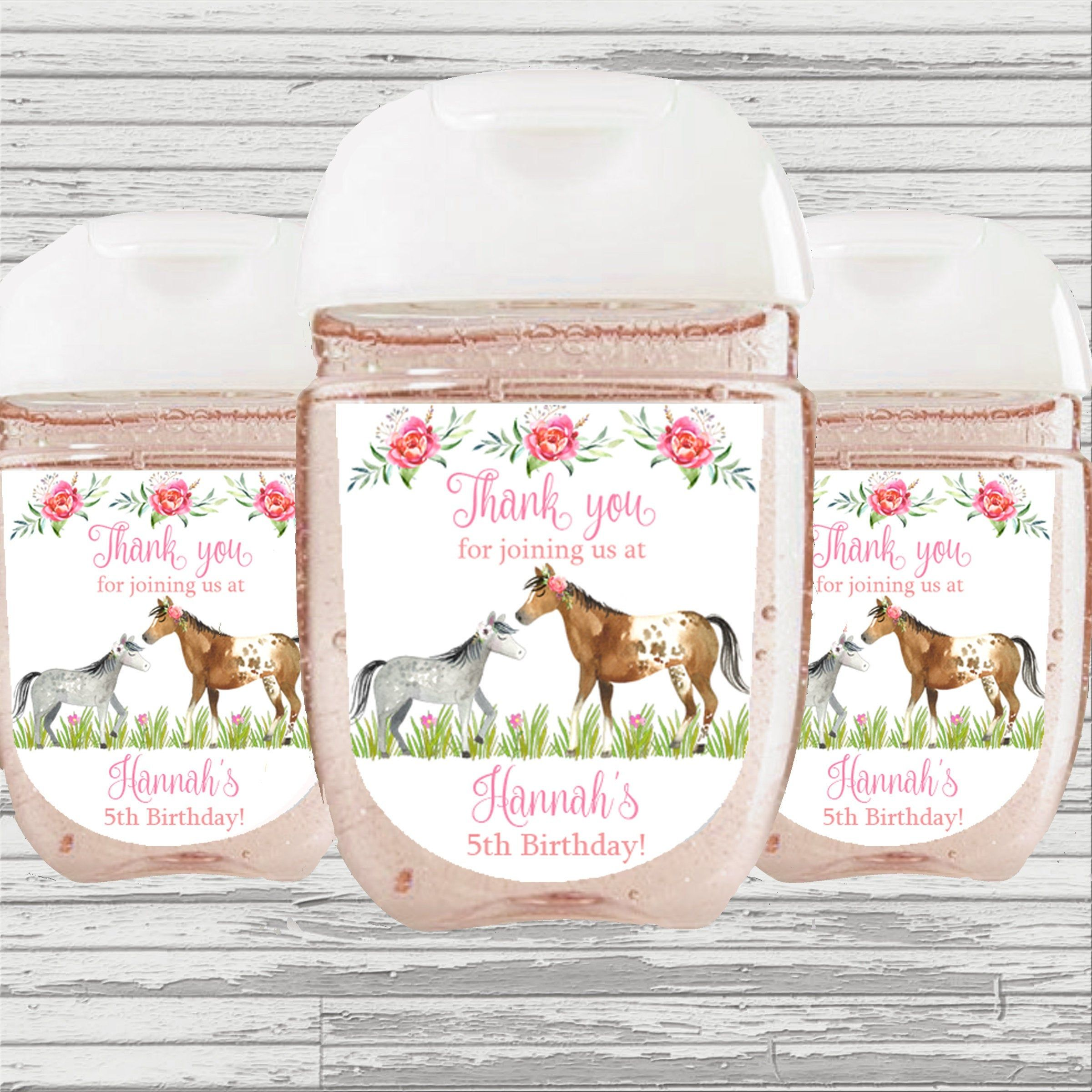 Horse Themed Birthday Shower Favor Hand Sanitizer Label Hand