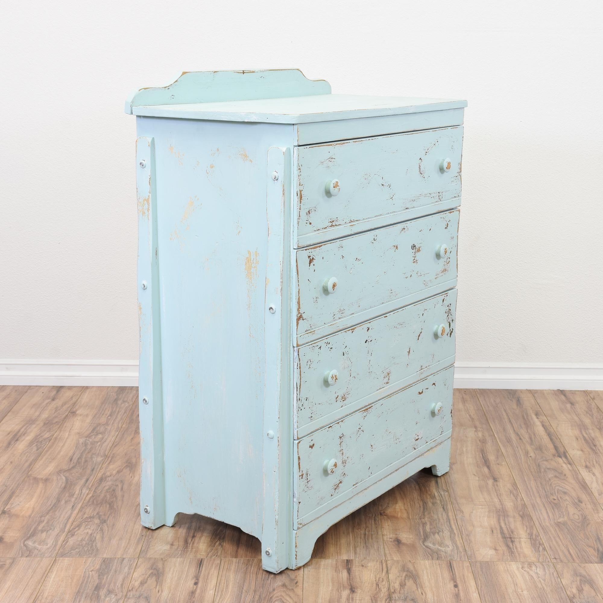 Light Blue Shabby Chic Tall Chest Drawers