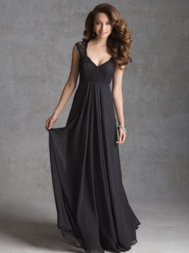 Online A Line Queen Anne Floor Length Chiffon Evening Wedding Party Dress Edmonton Cheap Shop