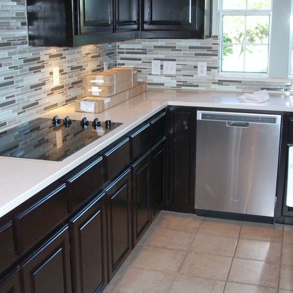 Beauteous L Shape Kitchen Espresso Cabinets Featuring White Quartz Countertops And Built In Stoves Espresso Cabinets Espresso Kitchen Espresso Kitchen Cabinets