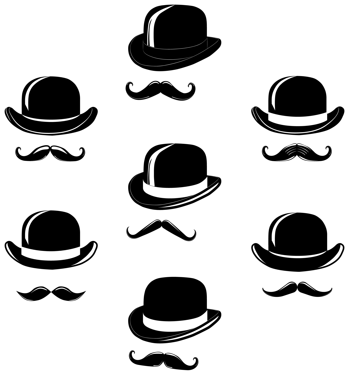 32cd1203da5e3 Vintage gentlemen elegance vector set. Gentleman  gentlemen  hat  bowler   derby