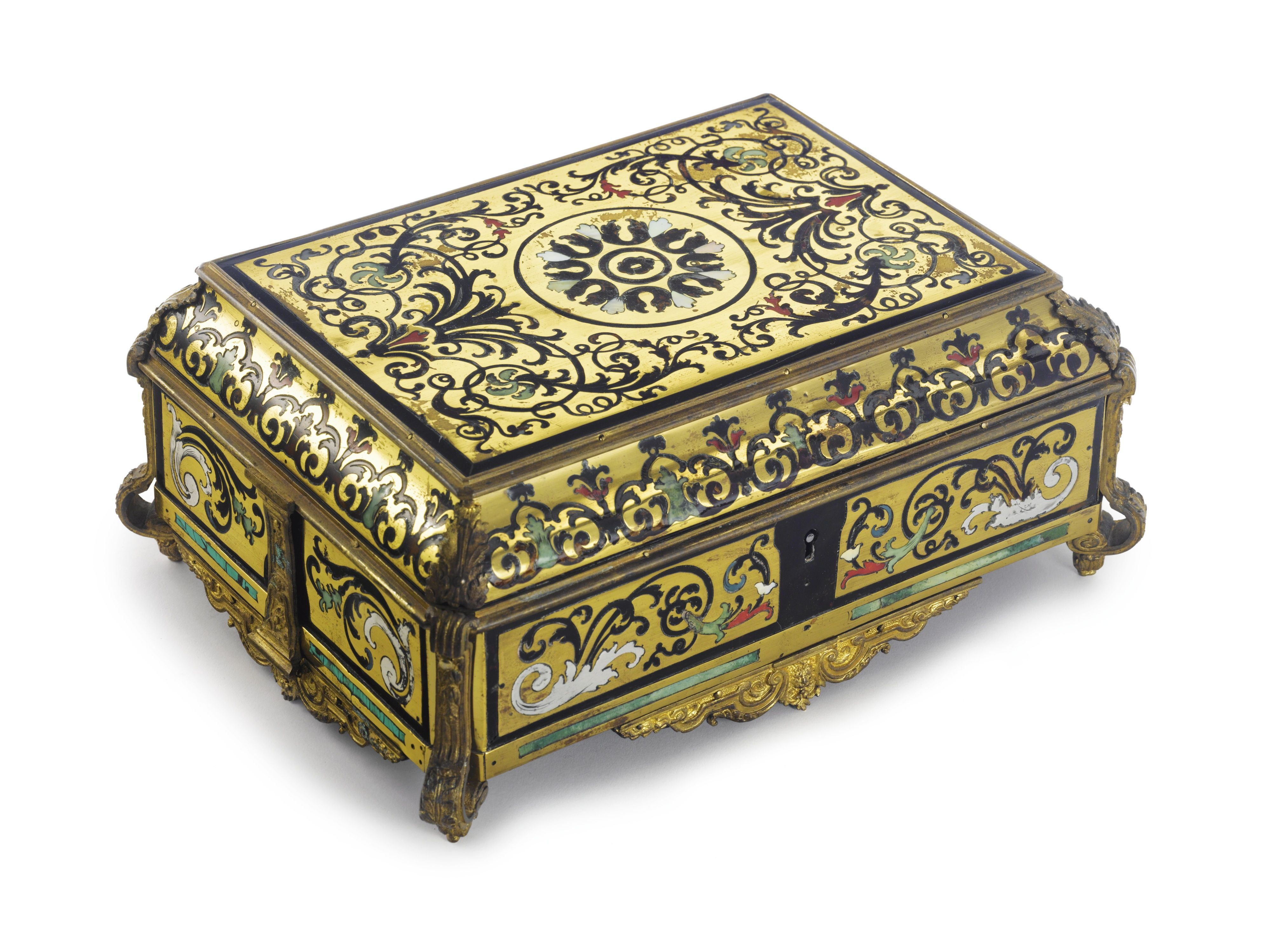 A LOUIS XIV ORMOLU-MOUNTED, BRASS, PEWTER, TORTOISESHELL, MOTHER-OF-PEARL AND TINTED HORN-INLAID BOX, circa 1710.