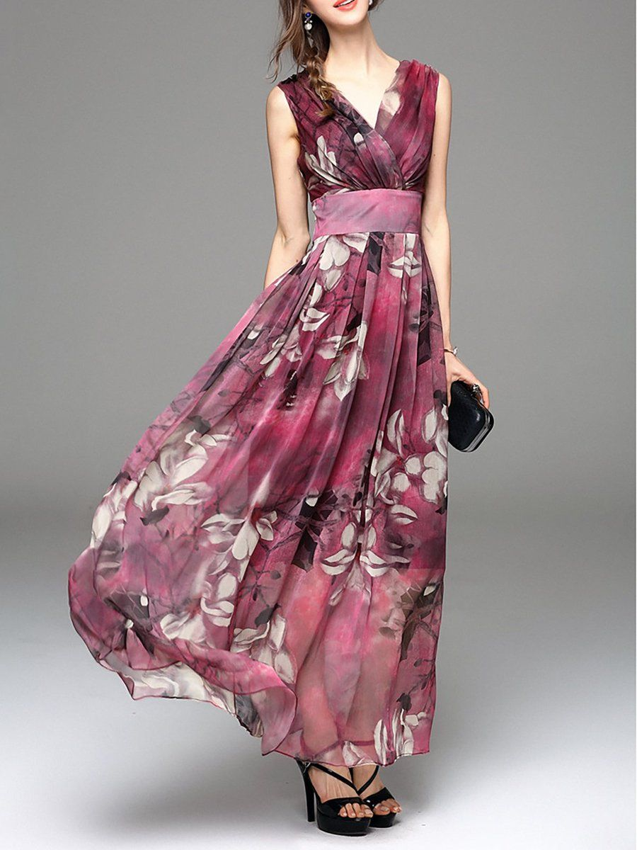 Chiffon V Neck Basic Classic Evening Long Dress   Maxi ...